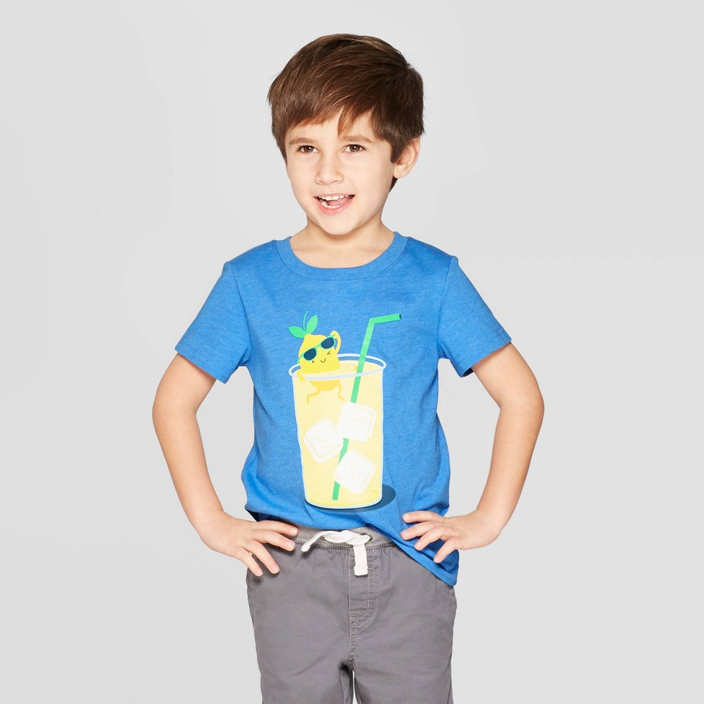 Toddler Boys' Short Sleeve Cool Lemonade T-Shirt - Cat & Jack Blue 12M