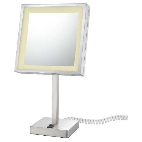 Square Single Sided Led Lighted Free Standing Magnified Makeup