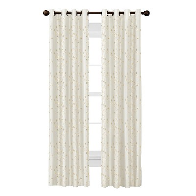 Jardin Thermal Lined Faux Silk-Embroidered Room Darkening Curtain Panel - Thermal Shield