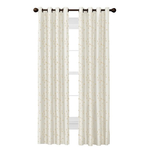 Jardin Thermal Lined Faux Silk-Embroidered Room Darkening Curtain Panel - Thermal Shield - image 1 of 3