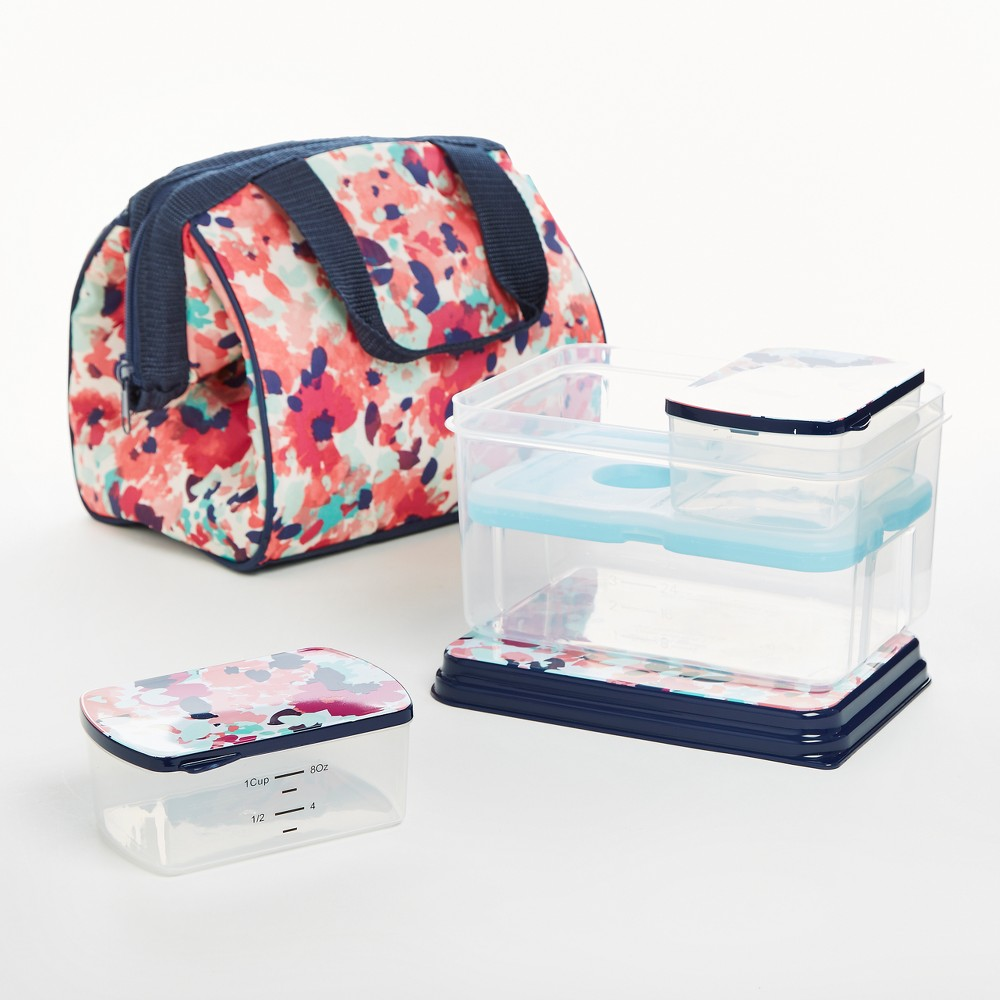 Image of Fit & Fresh Charlotte Lunch Tote - Navy & Pink Tropical Blooms, Blue Pink
