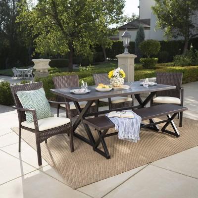 Tritan 6pc Aluminum & Wicker Patio Dining Set - Brown - Christopher Knight Home