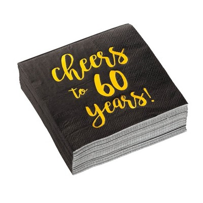 """Blue Panda 50-Pack """"Cheers to 60 Years"""" Disposable Paper Napkin 60th Birthday Anniversary Party Supplies 5"""""""