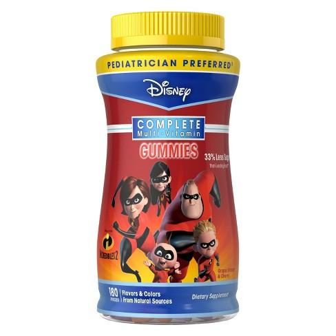 Disney The Incredibles 2 Complete Multivitamin Gummies - Grape, Orange & Cherry - 180ct - image 1 of 1