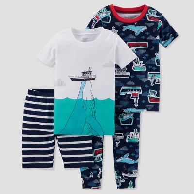 Baby Boys' 4pc Whale & Boats Pajama Set - Just One You® made by carter's Blue 9M