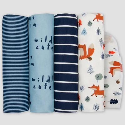 Gerber Baby Boys' 4pk Fox Flannel Blanket - Off-White/Blue
