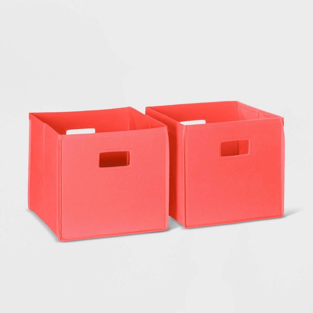 Image of 2pc Folding Storage Bin Set Coral - RiverRidge