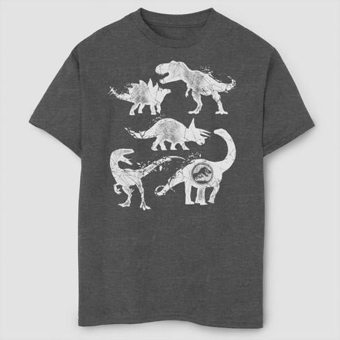 Boys' Jurassic World Fallen Kingdom Distressed Dinosaurs T-Shirt - Gray - image 1 of 2