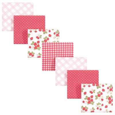 Hudson Baby Unisex Baby Cotton Flannel Receiving Blankets Bundle - Strawberries One Size