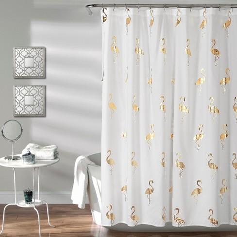 Flamingo Shower Curtain Gold