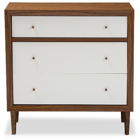 Harlow Mid Century Modern Scandinavian Style Wood 3 Drawer Chest