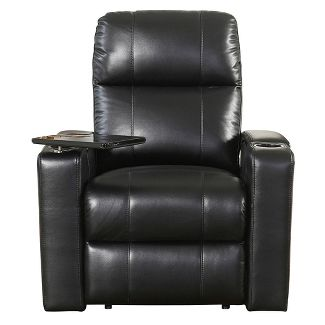 Ronnie Leather Power Theatre Recliner Black - Abbyson Living