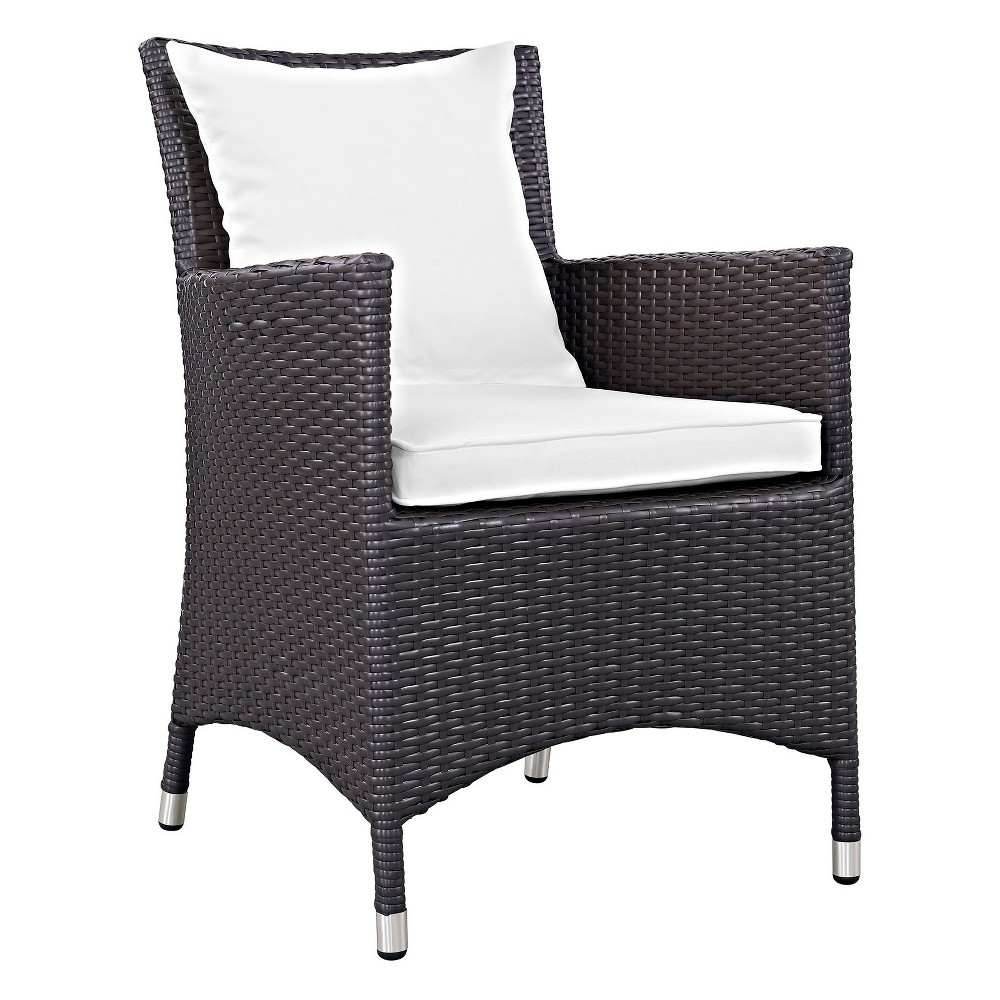 Convene Dining Outdoor Patio Armchair in Espresso White - Modway