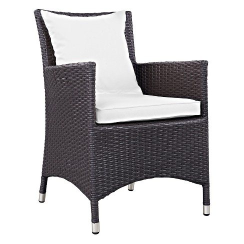 Convene Dining Outdoor Patio Armchair in Espresso White - Modway - image 1 of 4