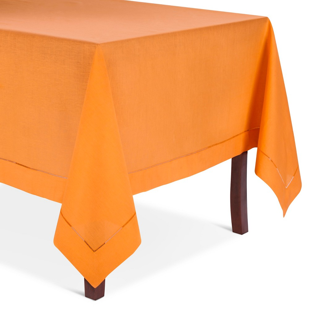 Hemstitched Tablecloth Persimmon (72 Round), Persimmon Orange