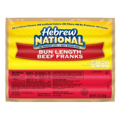Hebrew National Bun Length Beef Franks - 12oz