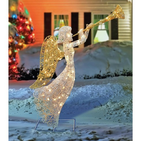 "Northlight 48"" Lighted Glittered Silver and Gold Trumpeting Angel Christmas Outdoor Decoration - image 1 of 4"