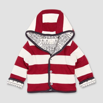 Burt's Bees Baby Organic Cotton Fair Isle Reversible Quilted Jacket - Red/Cream 0-3M