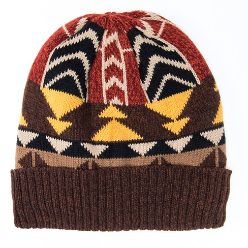 Women's Colorblock Geo Knit Cuff Cap - Brown - image 1 of 1