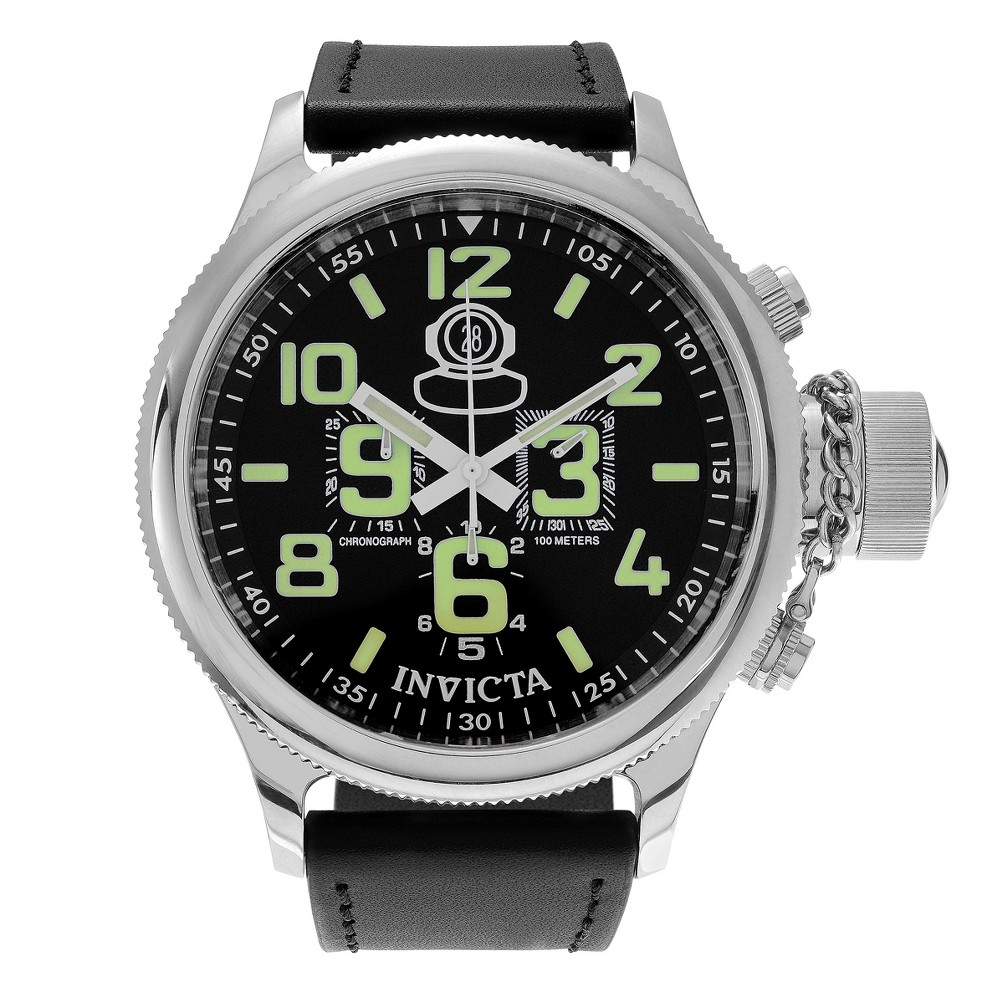 Men's Invicta 7000 Russian Diver Stainless Steel Leather Strap Chronograph Dial Watch - Black