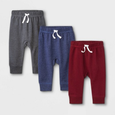 Baby Boys' 3pk French Terry Jogger Pull-On Pants - Cat & Jack™ Maroon/Navy/Charcoal Gray 3-6M