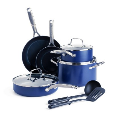 Blue Diamond 10pc Cookware Set Blue
