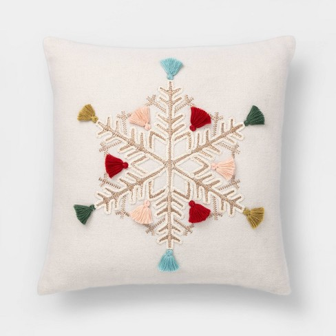 Embroidered Snowflake Square Throw Pillow With Fringe - Opalhouse™ - image 1 of 4