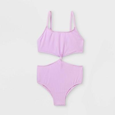 Girls' Ribbed One Piece Swimsuit - art class™ Purple
