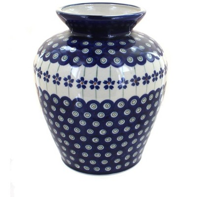 Blue Rose Polish Pottery Flowering Peacock Medium Vase