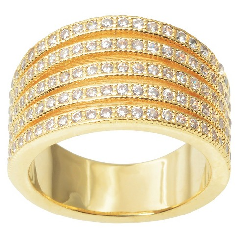 1 1/6 CT. T.W. Journee Collection Round Cut CZ Pave Set Split Strand Ring in Brass - Gold - image 1 of 2