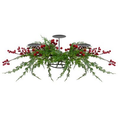 "Northlight 32"" Frosted Red Berry Candle Holder Christmas Tabletop Decor"