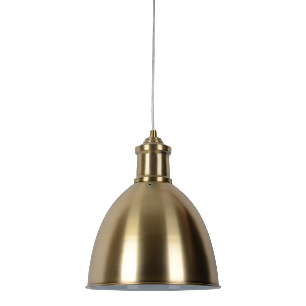 Large Industrial Metal Pendant Light Brass Includes Bulb Threshold 8482
