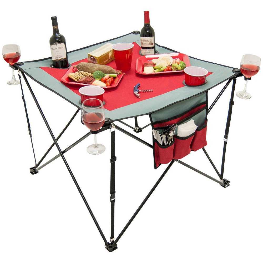 Image of Creative Outdoor Distributor Folding Wine Table - Red