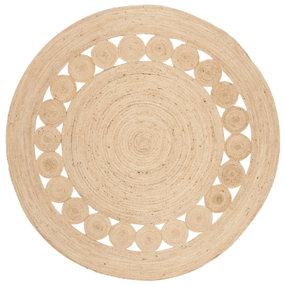 5' Solid Woven Round Area Rug Ivory - Safavieh