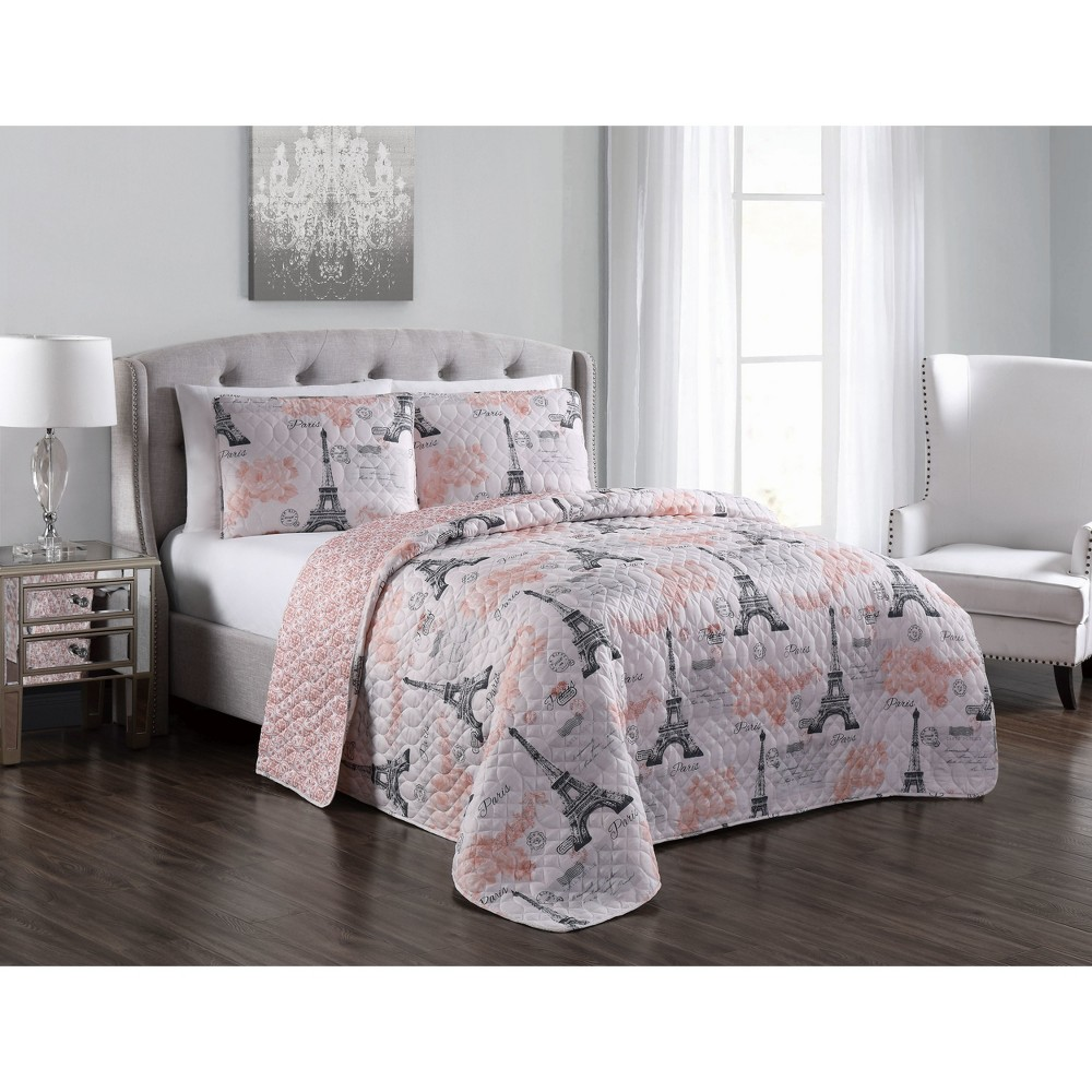 King 3pc Brigette Quilt Set Blush - Blush, Pink