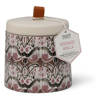 10oz Ikat Ceramic Jar Candle Rosewood Vanilla - Vineyard Hill Naturals By Paddywax
