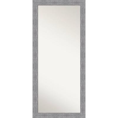 """29"""" x 65"""" Bark Rustic Framed Full Length Floor/Leaner Mirror Gray - Amanti Art"""