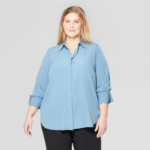 bfde59003 Women's Plus Size Long Sleeve V-Neck Essential Button-Down Blouse - Prologue™  Blue : Target