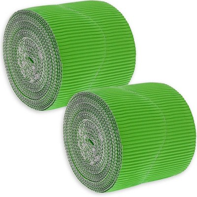 2-Rolls Green Bulletin Board Scalloped Border Decoration for Classroom, 2 inches X 50 Feet