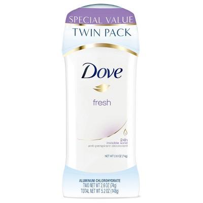 Dove Fresh 24-Hour Invisible Solid Antiperspirant & Deodorant Stick - 2.6oz