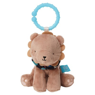 Manhattan Toy Fairytale Lion Plush Baby Travel Toy with Chime, Crinkle Ears and Teether Clip-on Attachment