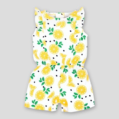 Lamaze Baby Girls' Ruffle Lemons Organic Cotton Romper - Yellow/White 6M