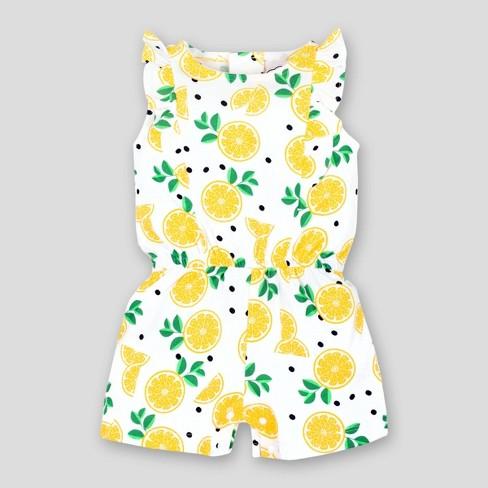 d489ae87d Lamaze Baby Girls' Ruffle Lemons Organic Cotton Romper - Yellow/White