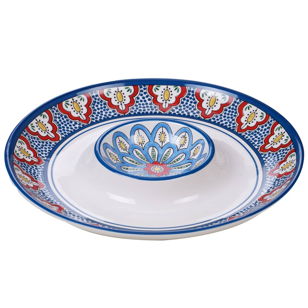 "Image of ""13.8"""" Earthenware Tangier Chip & Dip Platter Blue - Certified International"""