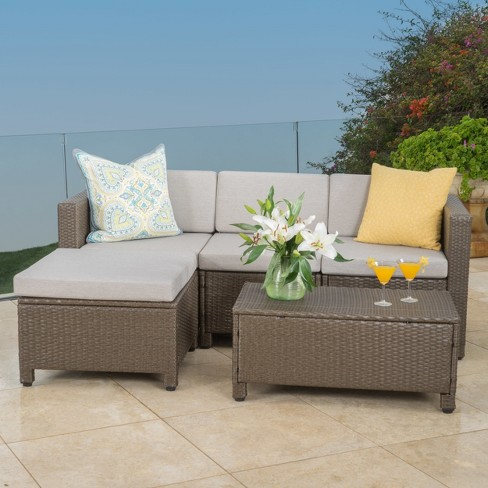 Puerta 5pc Wicker Sectional Sofa Set With Cushions Christopher