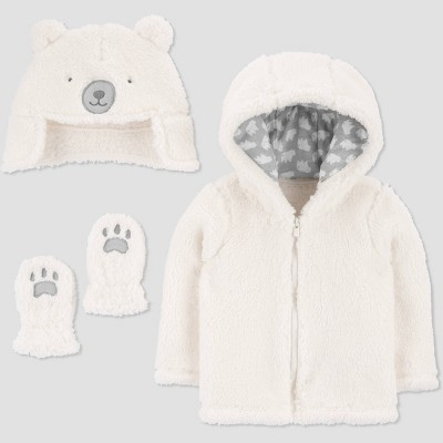 Baby Deer 3pc Faux Fur Jacket - Just One You® made by carter's Cream 0-3M