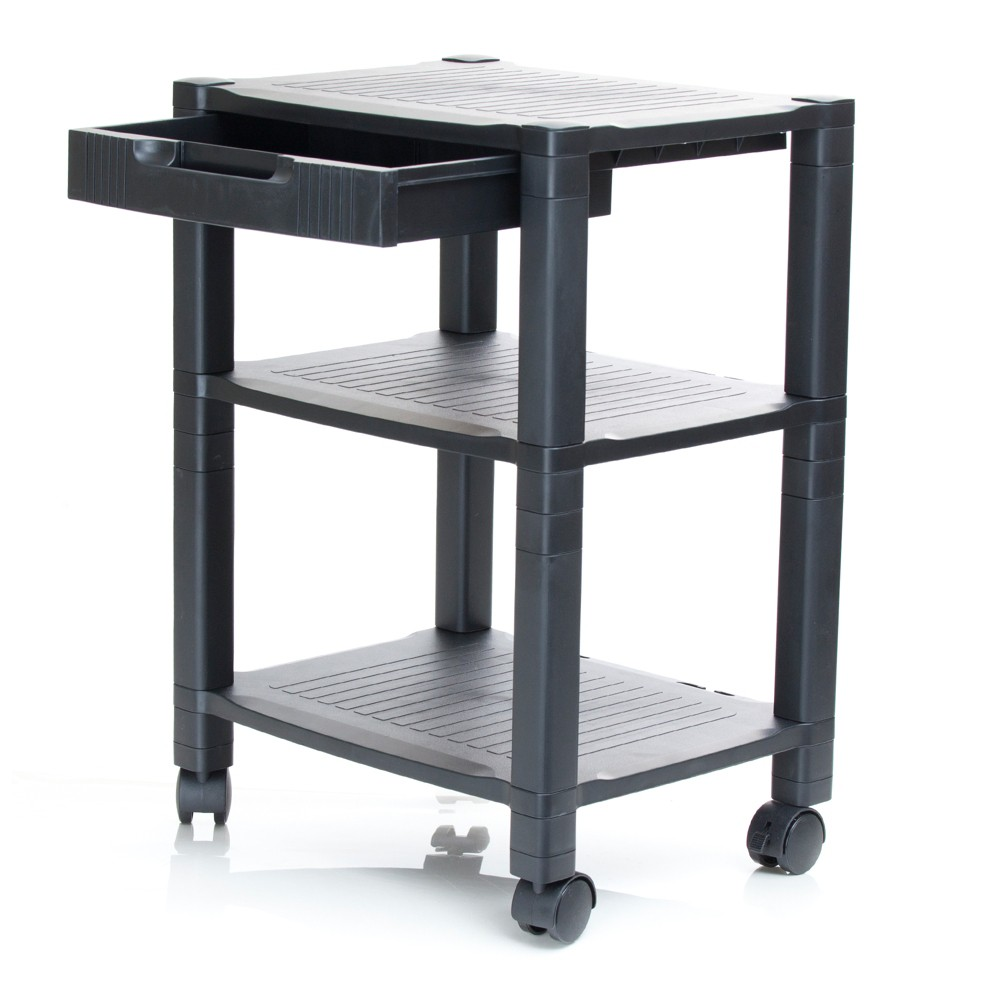 3 Shelf Plastic Printer Cart with Wheels Black - Mind Reader
