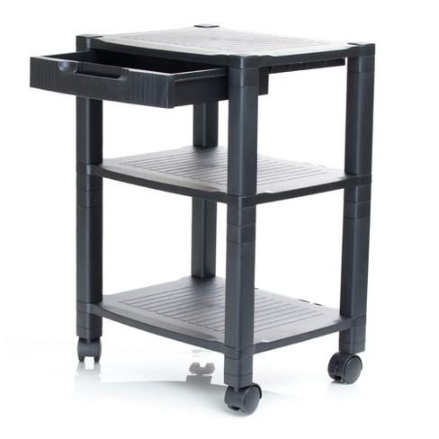 3 Shelf Plastic Printer Cart with Wheels Black - Mind Reader - image 1 of 4