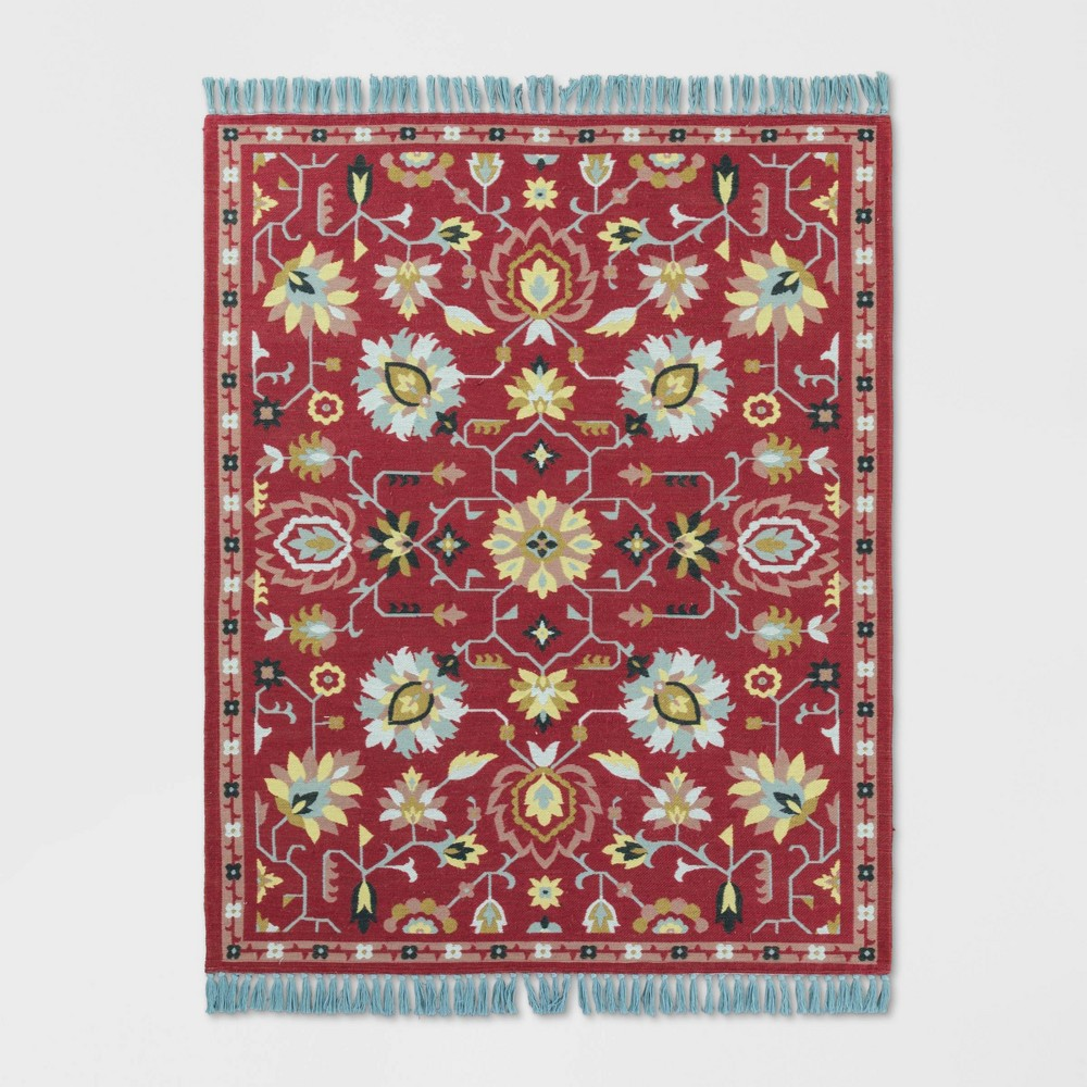 9'X12' Indoor/Outdoor Floral Woven Area Rug Pink - Opalhouse