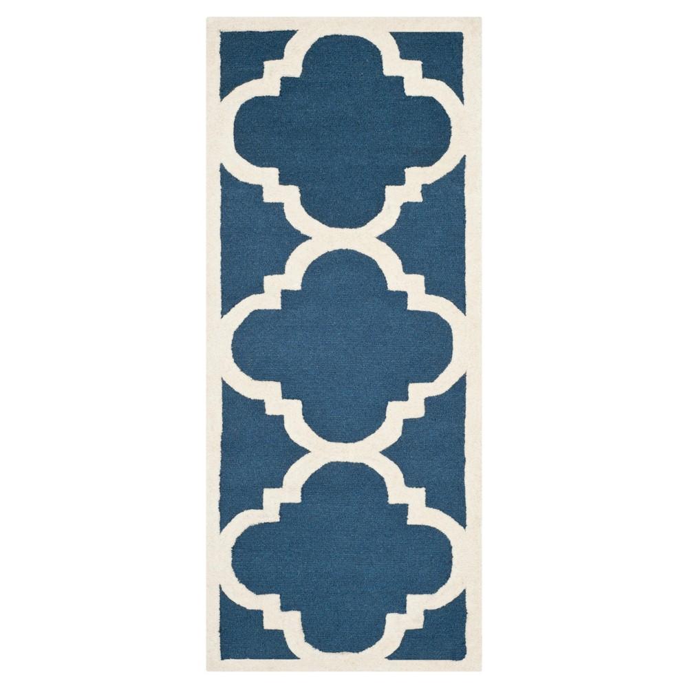 Landon Texture Wool Rug - Navy / Ivory (2'6 X 12' Runner) - Safavieh, Blue/Ivory